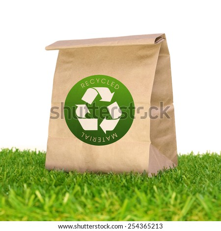 Recycle Bag on the Grass - stock photo