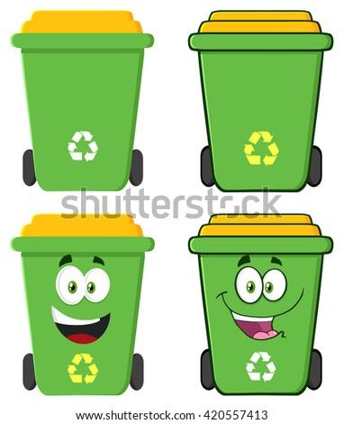 Recycle Bin Cartoon Characters. Set Raster Collection Isolated On White - stock photo