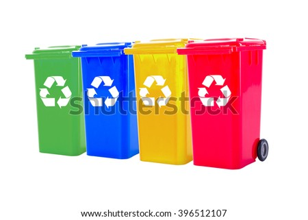 Recycle bin colorful  for trash your garbage and seperate type object for reuse protect our environment. - stock photo