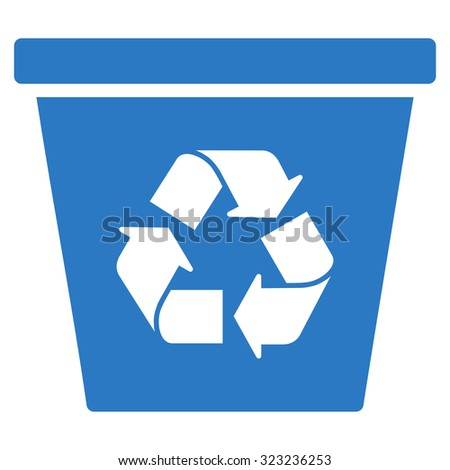 Recycle Bin glyph icon. Style is flat symbol, smooth blue color, rounded angles, white background. - stock photo