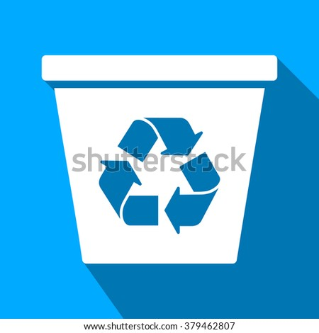 Recycle Bin long shadow raster icon. Style is a flat light symbol with rounded angles on a blue square background. - stock photo