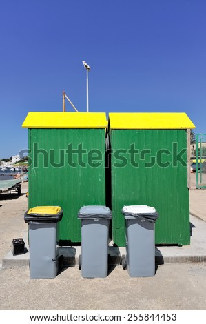 recycle bin with box beach - stock photo