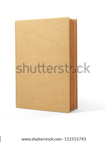 recycle book brown cover isolated on white background - stock photo
