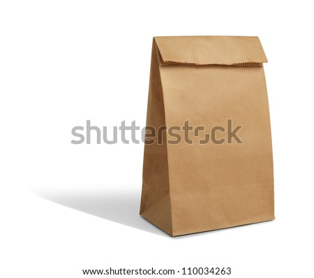 recycle brown paper bag - stock photo