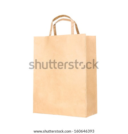 Recycle brown paper bag, closeup on white  - stock photo