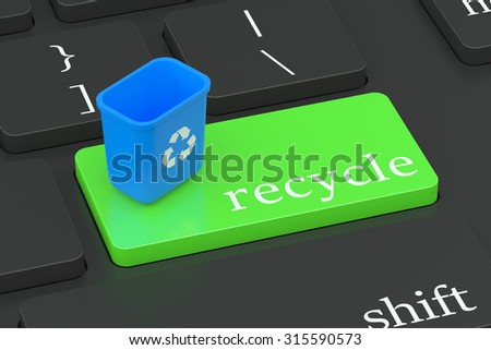 Recycle concept on green keyboard button  isolated on white background - stock photo