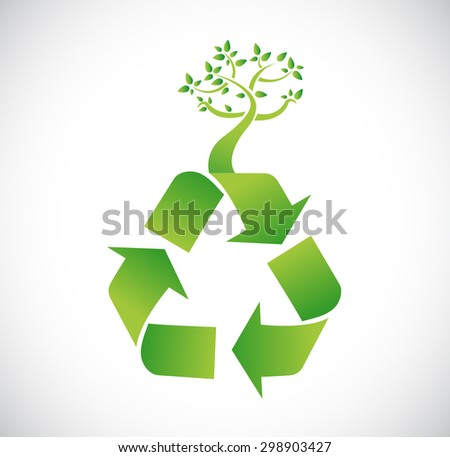recycle for nature. illustration sign concept over white - stock photo