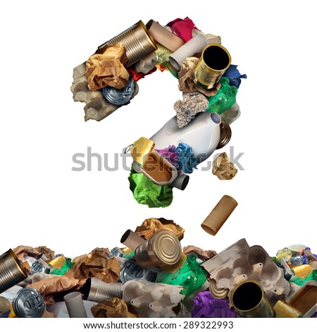 Recycle garbage questions and reusable waste management solutions or confusion concept as old paper glass metal and plastic household products shaped as a question mark as a symbol for conservation . - stock photo