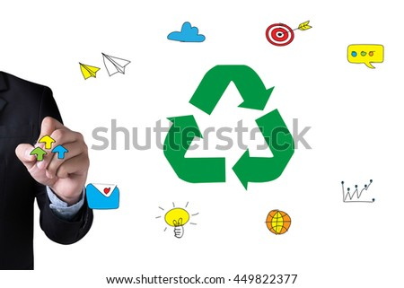 Recycle Green bio eco forest saving environment harmony ecosystem conservation csr esg campaign and Businessman drawing Landing Page on white background - stock photo