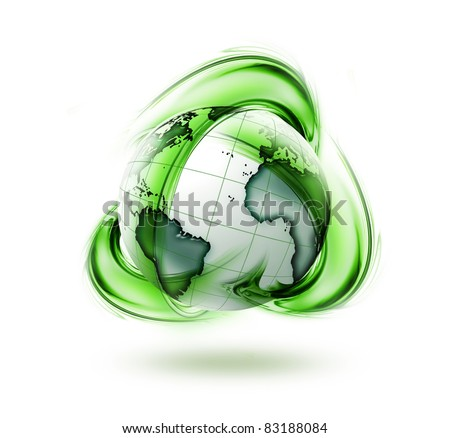 recycle green earth symbol - ecology concept symbol - stock photo