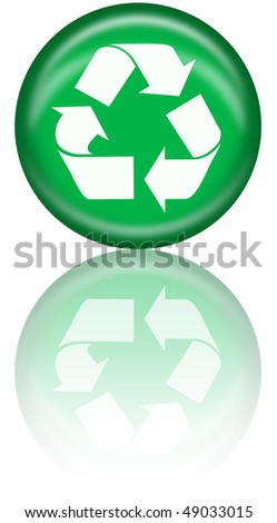 Recycle logo button with reflection - stock photo