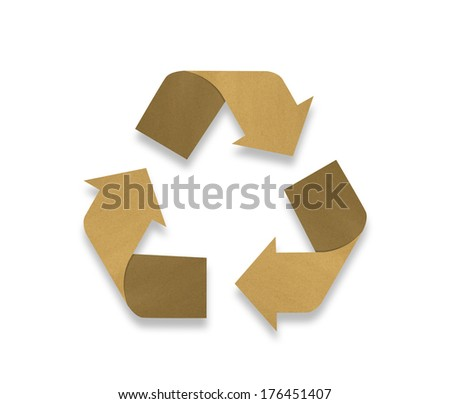 Recycle logo from recycle paper on white background - stock photo
