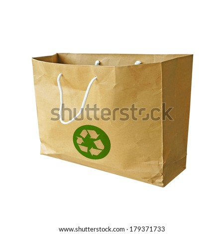 Recycle logo on paper bag on white background - stock photo