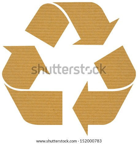 Recycle logo with reused paper isolated on white background - stock photo