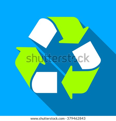 Recycle long shadow raster icon. Style is a flat light symbol with rounded angles on a blue square background. - stock photo