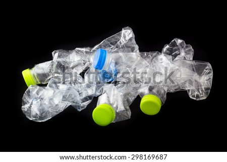 Recycle made of used plastic bottles. Picture Concept of recycle black background.  - stock photo