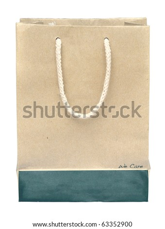 Recycle paper bag on white background - stock photo