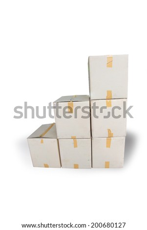 Recycle paper carton box pile stacking for reuse isolated on white back ground. - stock photo