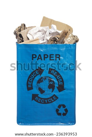 Recycle Paper Container overflowing with paper and cardboard - stock photo