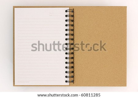 Recycle paper notebook last page on white background - stock photo