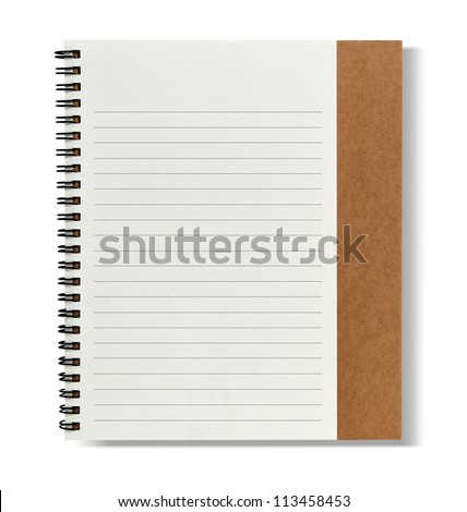 recycle paper notebook right page - stock photo