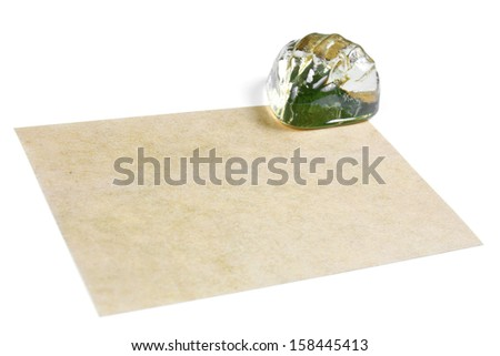 recycle paper with glass shell for note, isolated - stock photo