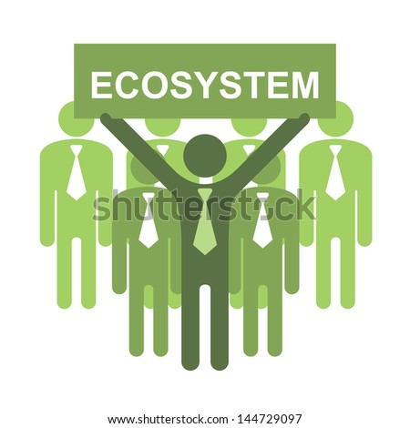 Recycle, Save The Earth or Stop Global Warming Concept Present By Group of Businessman With Green Ecosystem Sign Isolated on White Background - stock photo