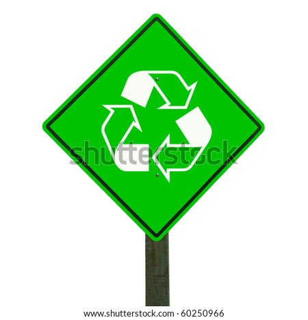 Recycle sign isolated on white with clipping path. - stock photo