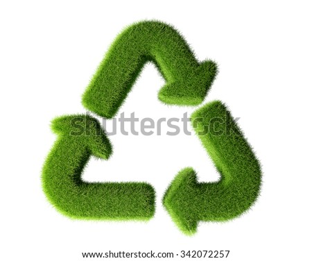 Recycle sign made from grass isolated on white background - stock photo
