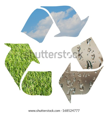 Recycle sign made with grass, clouds and water droplets  on white background - stock photo