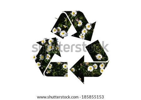recycle sign on daisy - stock photo