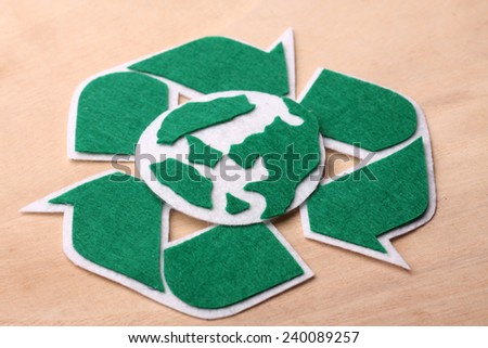RECYCLE sign with earth day concept - stock photo