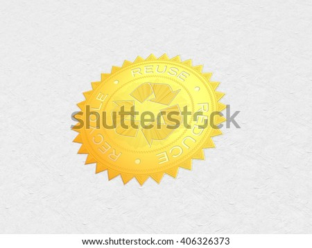Recycle Symbol | 3D Illustration | Gold Foiled Stamp - stock photo