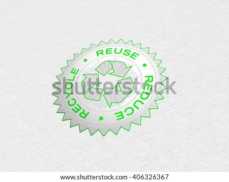 Recycle Symbol | 3D Illustration | Silver and Green Foiled Stamp - stock photo