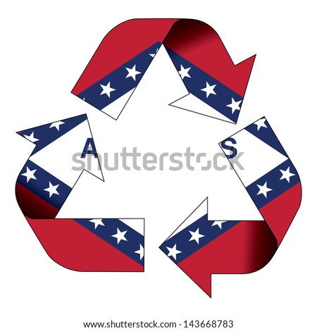 Recycle symbol flag of Arkansas - stock photo