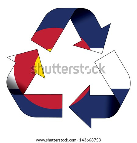 Recycle symbol flag of Colorado - stock photo