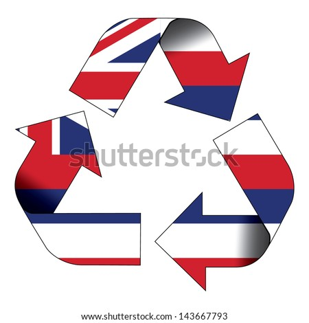 Recycle symbol flag of Hawaii - stock photo