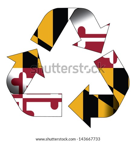 Recycle symbol flag of Maryland - stock photo