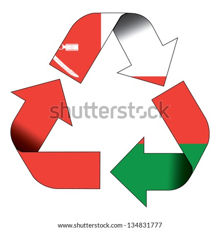 Recycle symbol flag of Oman - stock photo