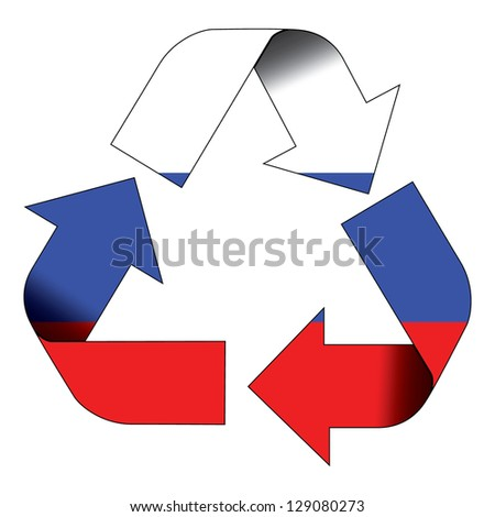 Recycle symbol flag of Russia - stock photo