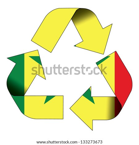 Recycle symbol flag of Senegal - stock photo