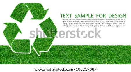 Recycle symbol from grass background, isolated on white - stock photo