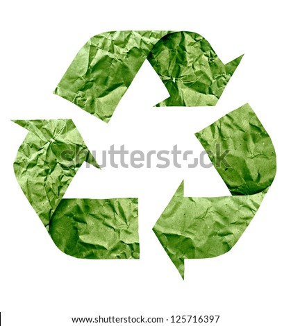 Recycle symbol made of paper - stock photo