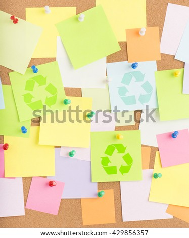 Recycle symbol on notice board in office. Background or backdrop for business information. Concept image of communication or reminder with copy space.  - stock photo
