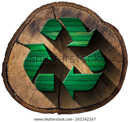 Recycle Symbol on Tree Trunk. Green wooden recycling symbol on a section of tree trunk isolated on white background. - stock photo