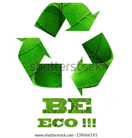 Recycle symbol with leaf texture - stock photo