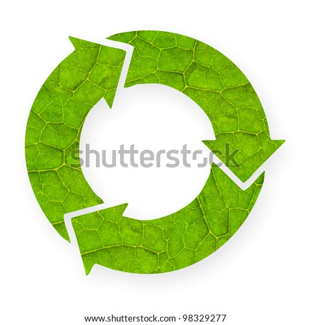 Recycle symbol with leaf texture, isolated white background, clipping path. - stock photo