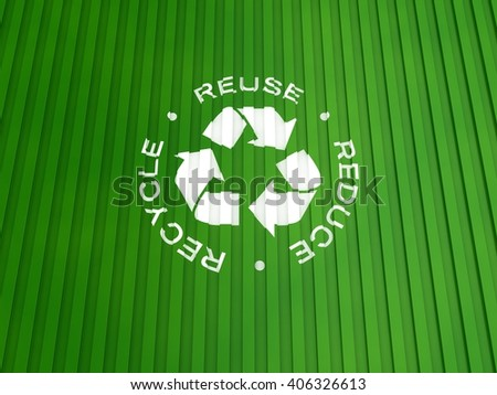 Recycle Symbol with 3R Text on a Container Background | 3D Illustration - stock photo