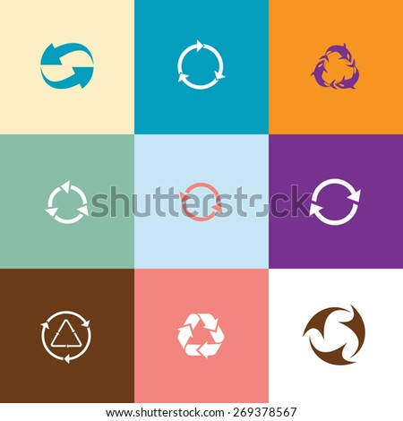 Recycle symbols set. Flat color raster icons. - stock photo