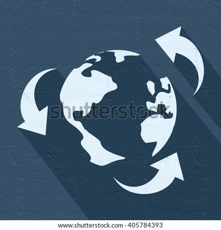 recycle world icon - stock photo